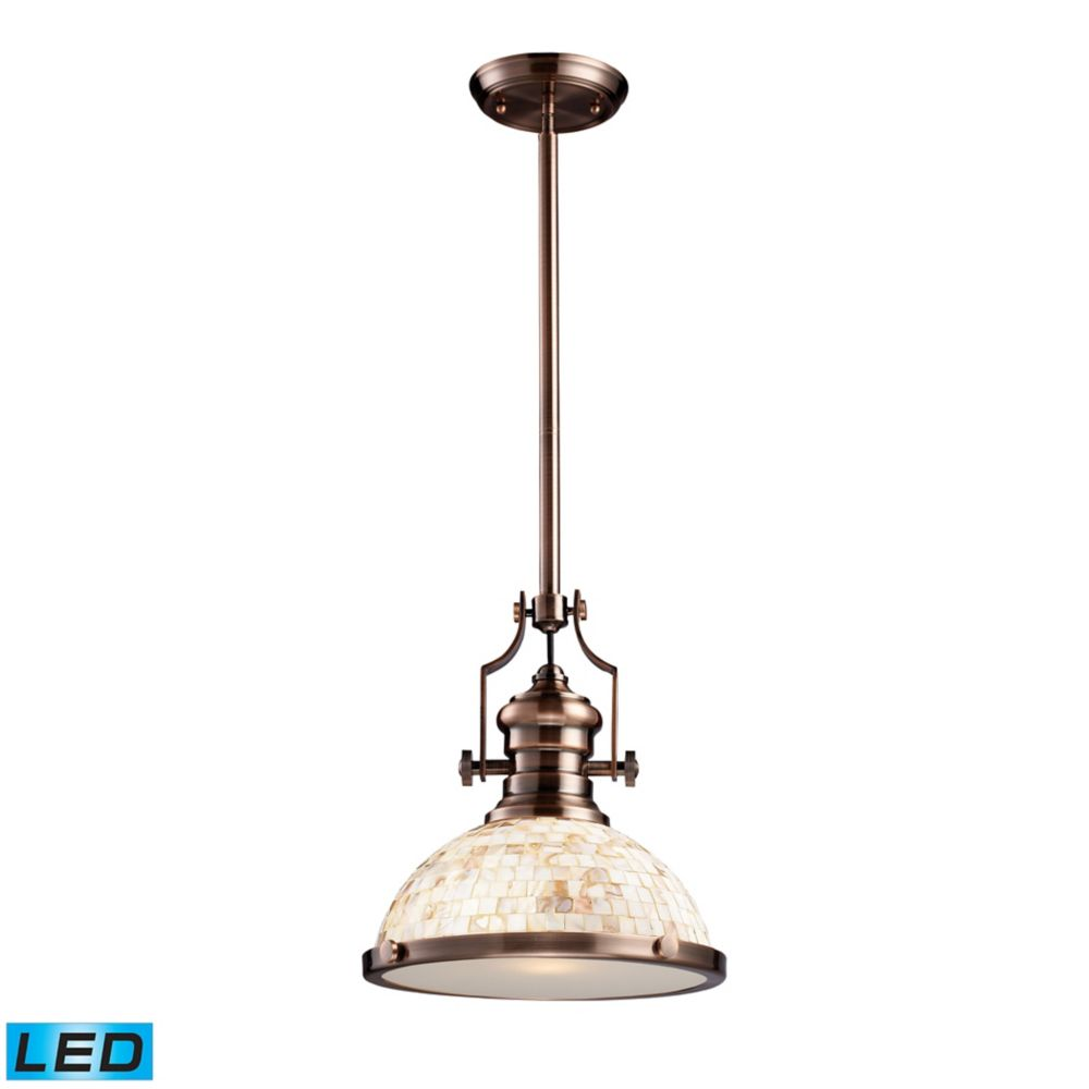 Chadwick 1-Light Pendant Antique Copper And Cappa Shell - LED