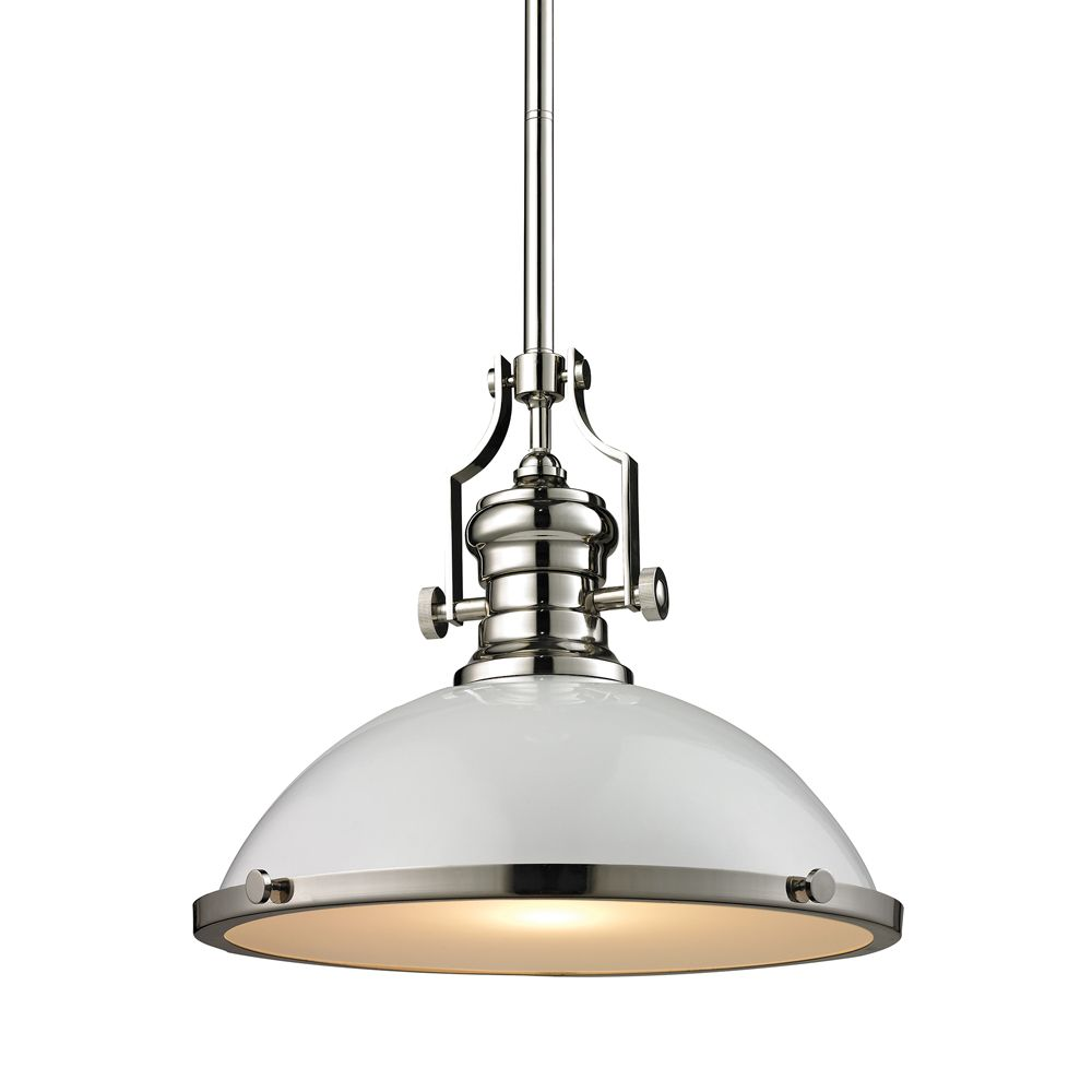 Chadwick 1 Light Pendant In Gloss White/Polished Nickel TN-1045 Canada Discount