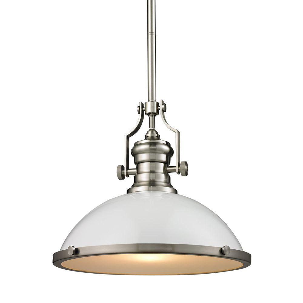 Chadwick 1 Light Pendant In Gloss White/Satin Nickel