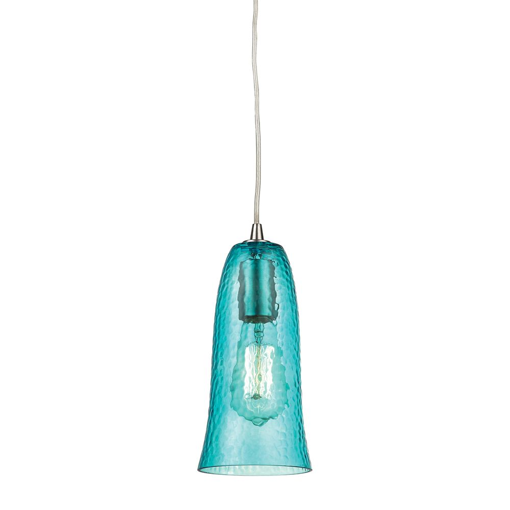 Hammered Glass 1 Light Pendant In Satin Nickel