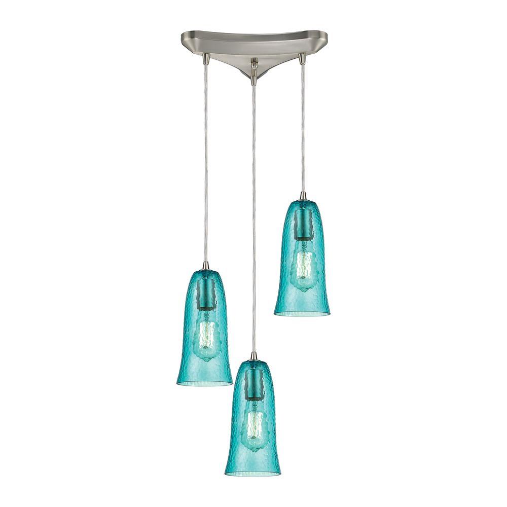 Luminaire suspendu à 3ampoules Hammered Glass au fini nickel satiné