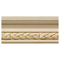 Ornamental Mouldings White Hardwood Celtic Small Chair Rail Moulding - 1/2 x 1-3/4 x 96 inch