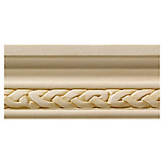White Hardwood Celtic Small Chair Rail Moulding - 1/2 x 1-3/4 x 96 inch