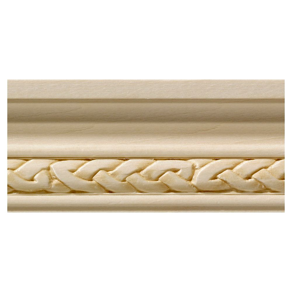 3 Inch Chair Rail Part - 43: White Hardwood Celtic Small Chair Rail Moulding - 1/2 X 1-3/