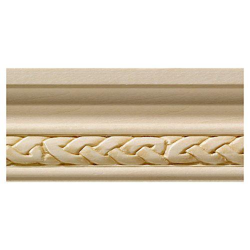 Ornamental Mouldings Cimaise celtique étroite en bois dur blanc - 1/2 x 1 3/4 x 96 po