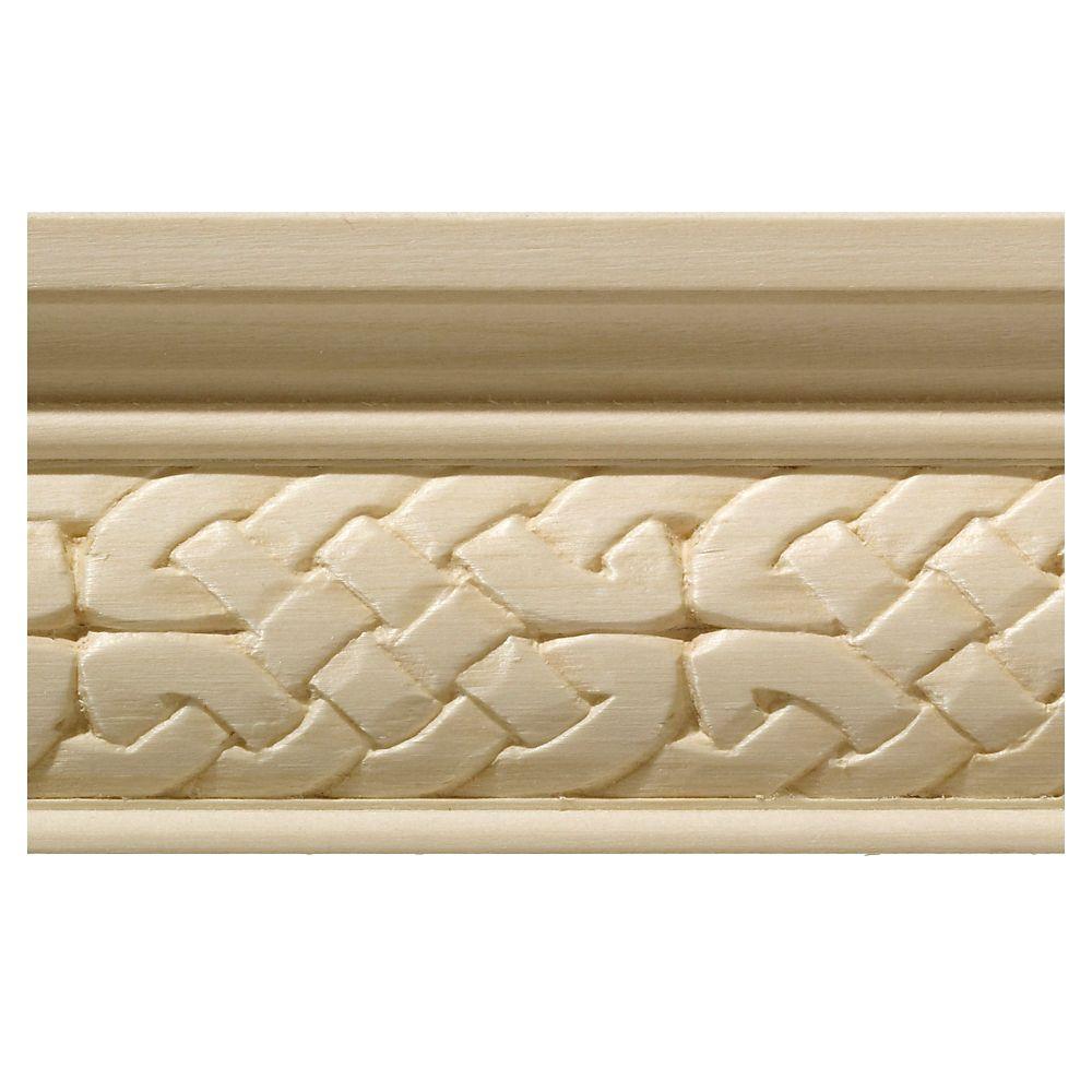 Cimaise celtique en bois dur blanc - 1/2 x 2 1/4 x 96 po
