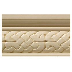 Ornamental Mouldings White Hardwood Celtic Chair Rail Moulding - 1/2 x 2-1/4 x 96 inch