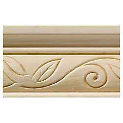 Ornamental Mouldings White Hardwood Clean Scroll Chair Rail Moulding - 1/2 x 2-1/4 x 96 Inches
