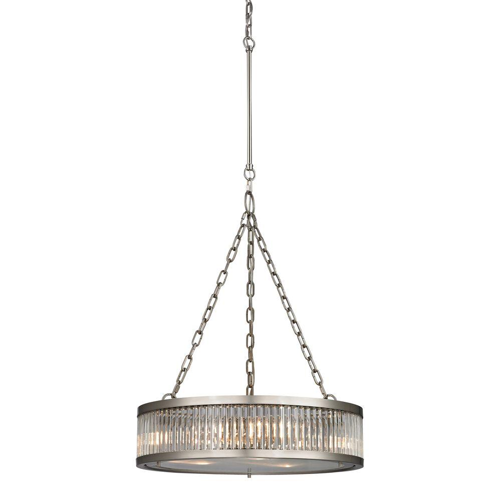 titan lighting luminaire suspendu 3 ampoules linden au fini nickel bross home depot canada. Black Bedroom Furniture Sets. Home Design Ideas