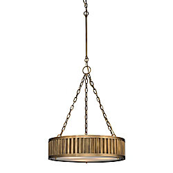 Titan Lighting Linden Collection 3 Light Pendant In Aged Brass