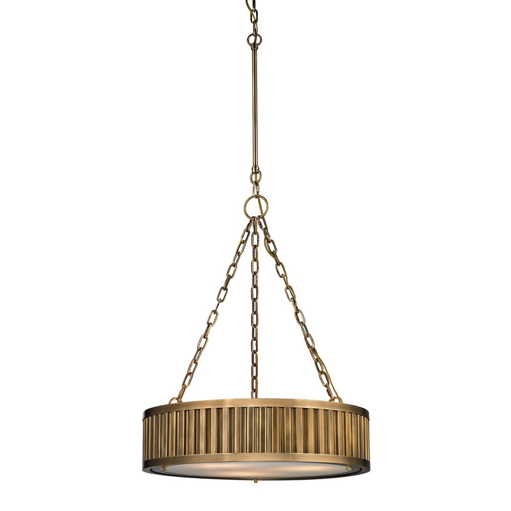 Linden Collection 3 Light Pendant In Aged Brass - LED