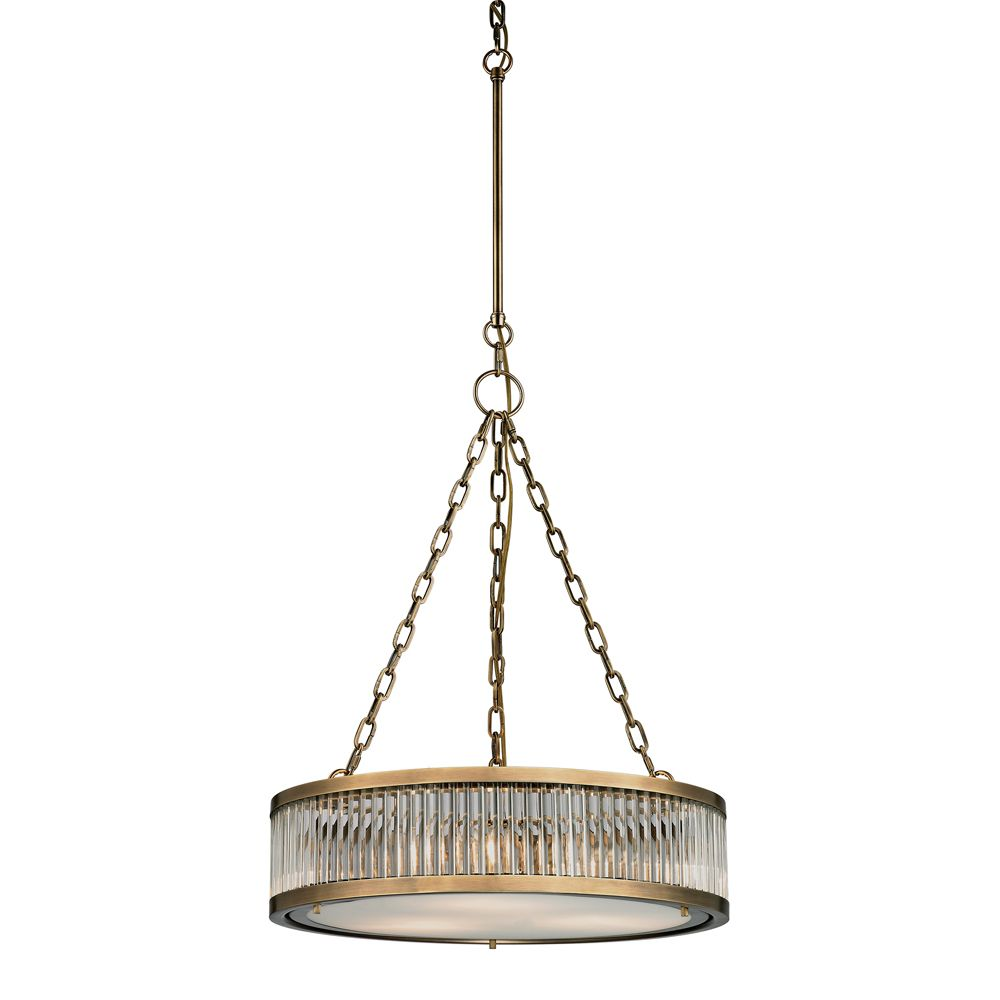 Linden Collection 3 Light Pendant In Aged Brass