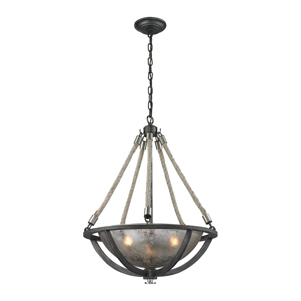 Natural Rope 3 Light Pendant In Silvered Graphite/Polished Nickel Accents