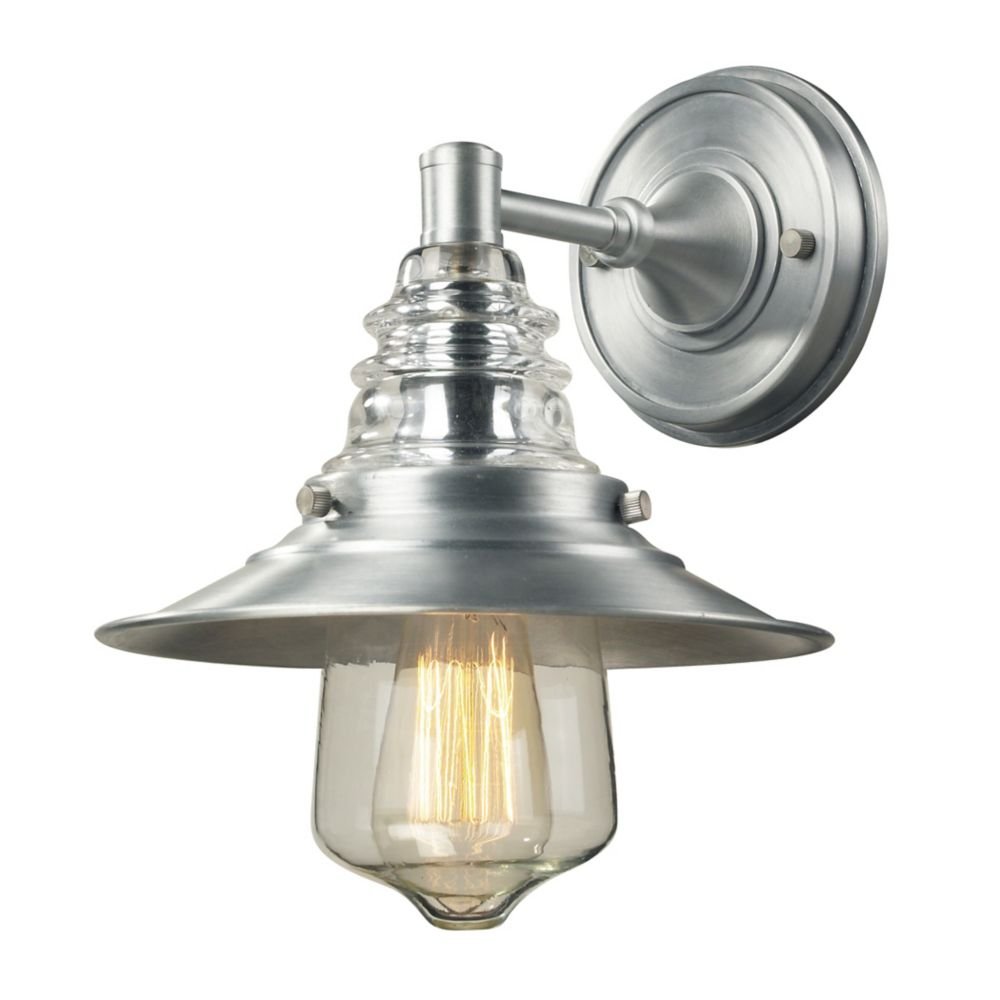 Insulator Glass 1 Light Outdoor Sconce In Brushed