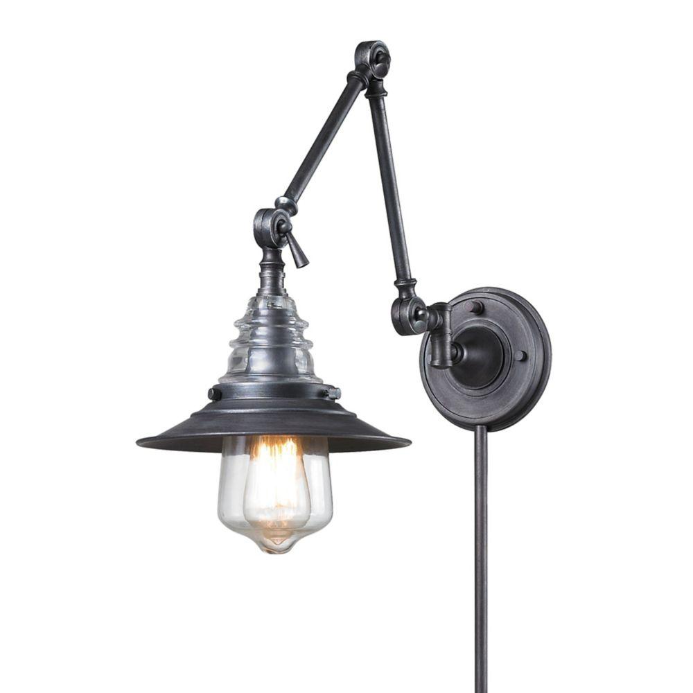 titan lighting applique murale bras pivotant 1 ampoule insulator glass au fini zinc patin. Black Bedroom Furniture Sets. Home Design Ideas