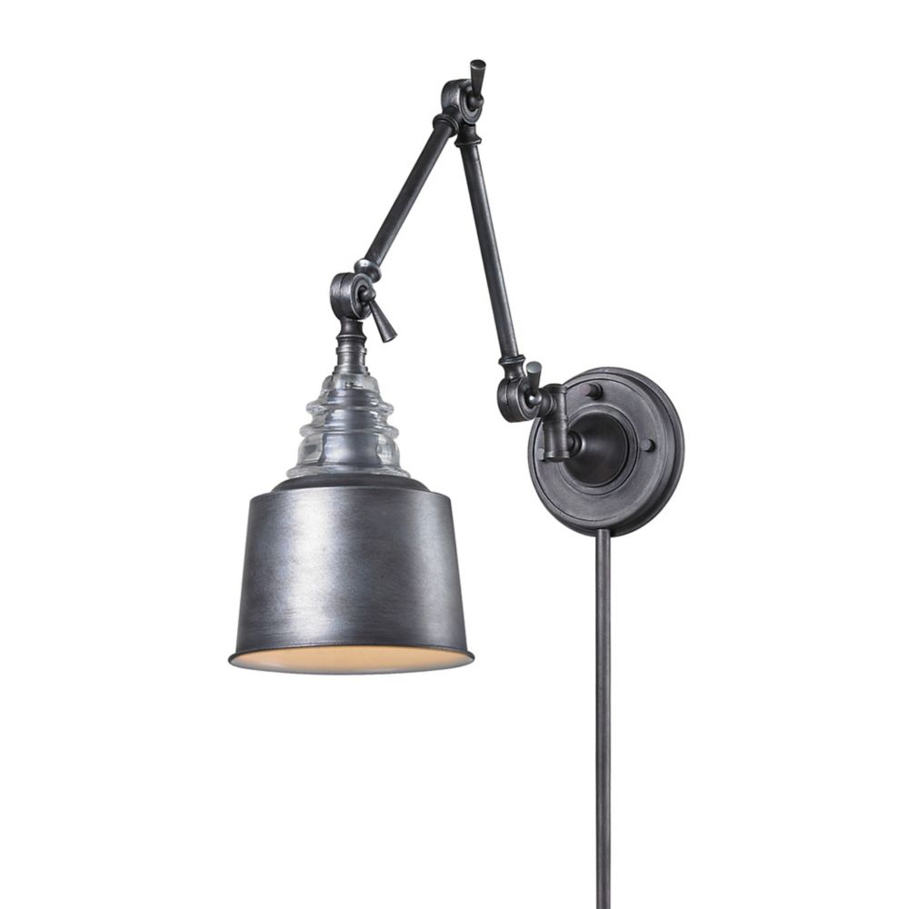 Insulator Glass  1 Light Swingarm Sconce In Weathered Zinc