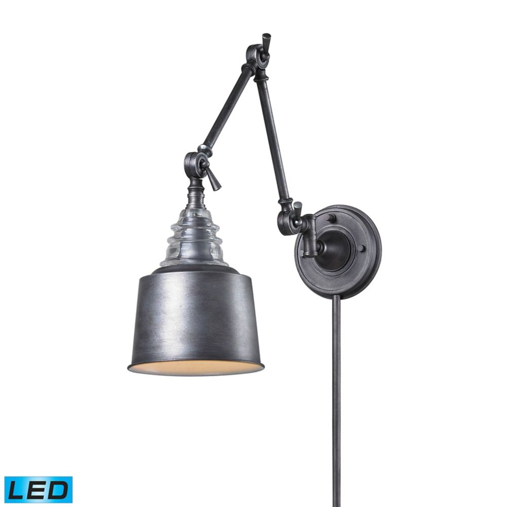 Insulator Glass  1 Light Swingarm Sconce In Weathered Zinc - LED