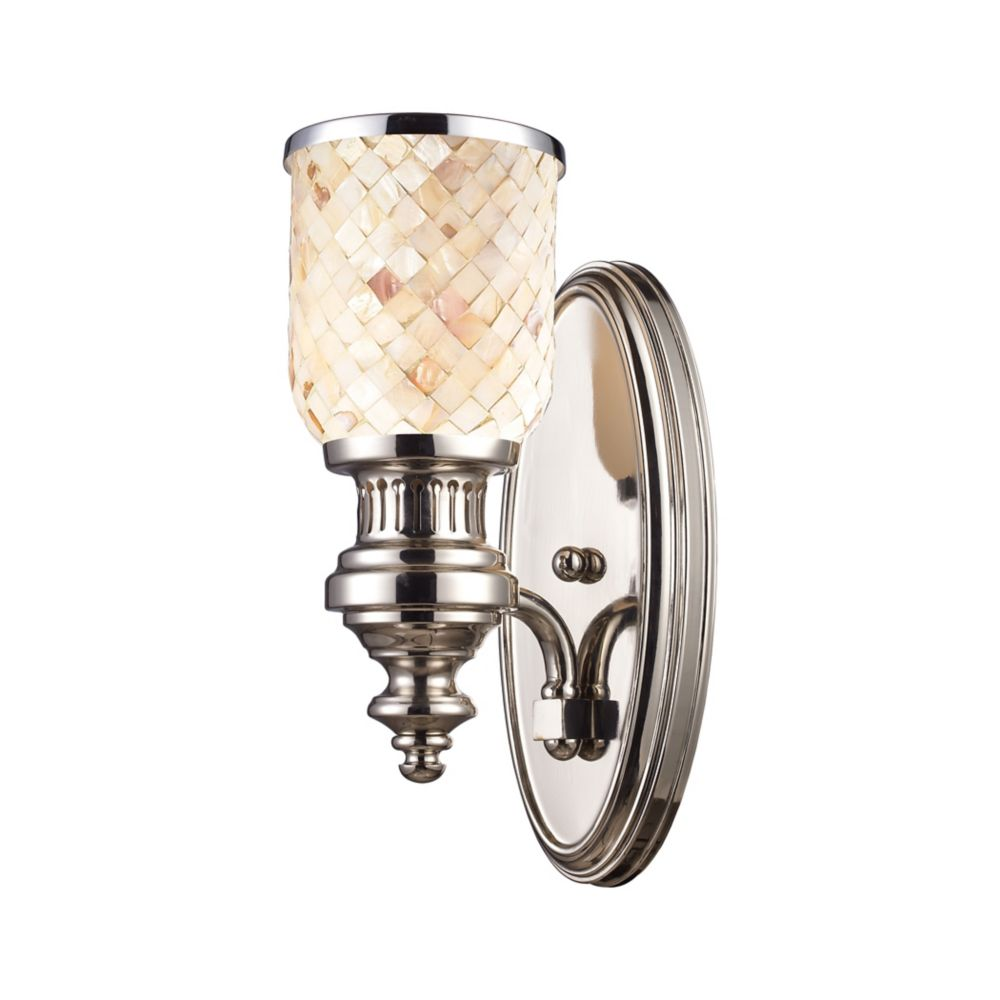 Chadwick 1-Light Sconce In Polished Nickel And Cappa Shell