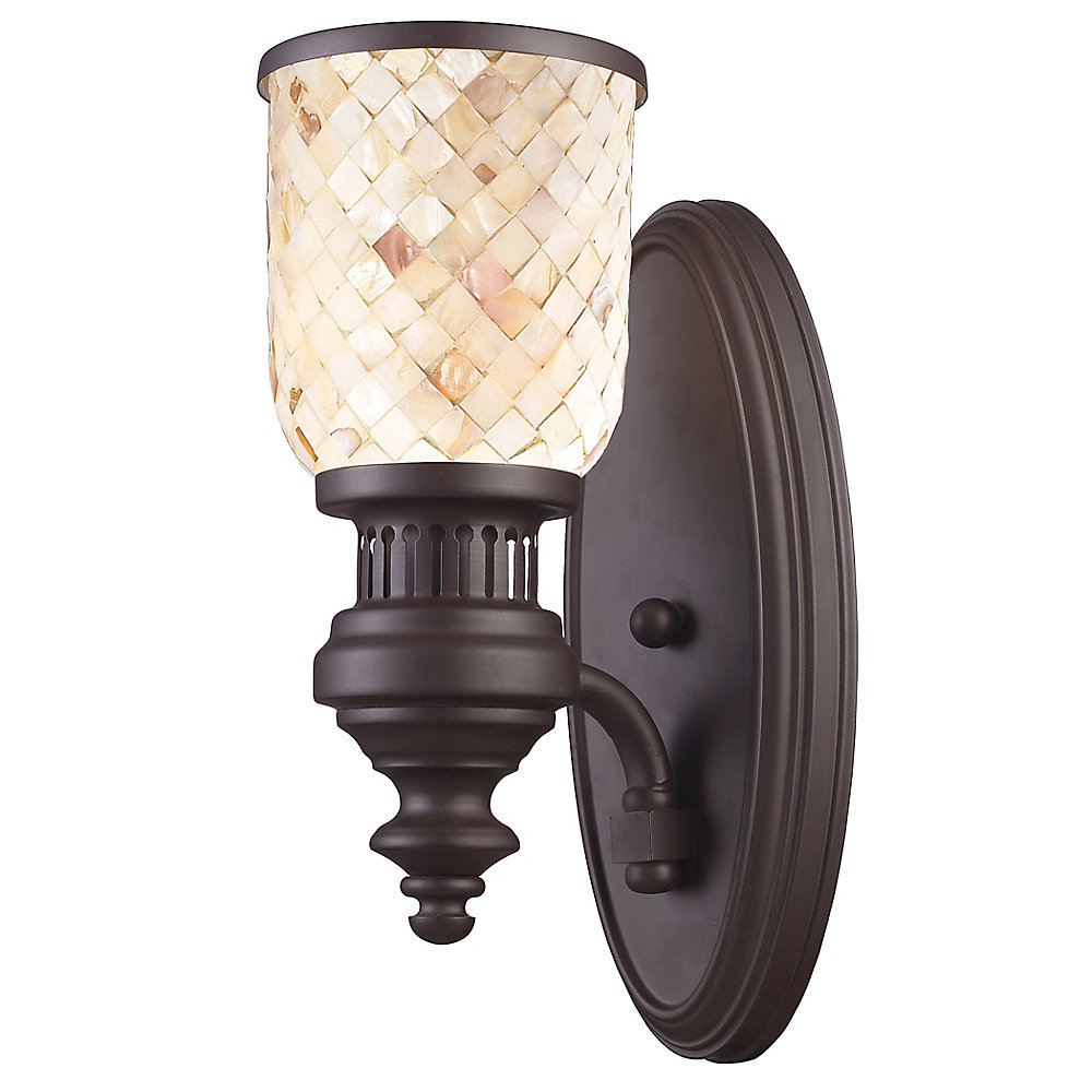 Chadwick 1-Light Sconce In Oiled Bronze And Cappa Shell