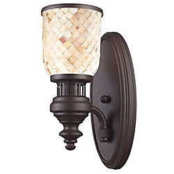 Titan Lighting Chadwick 1-Light Sconce In Oiled Bronze And Cappa Shell