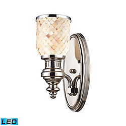 Titan Lighting Chadwick 1-Light Sconce In Polished Nickel And Cappa Shell - LED