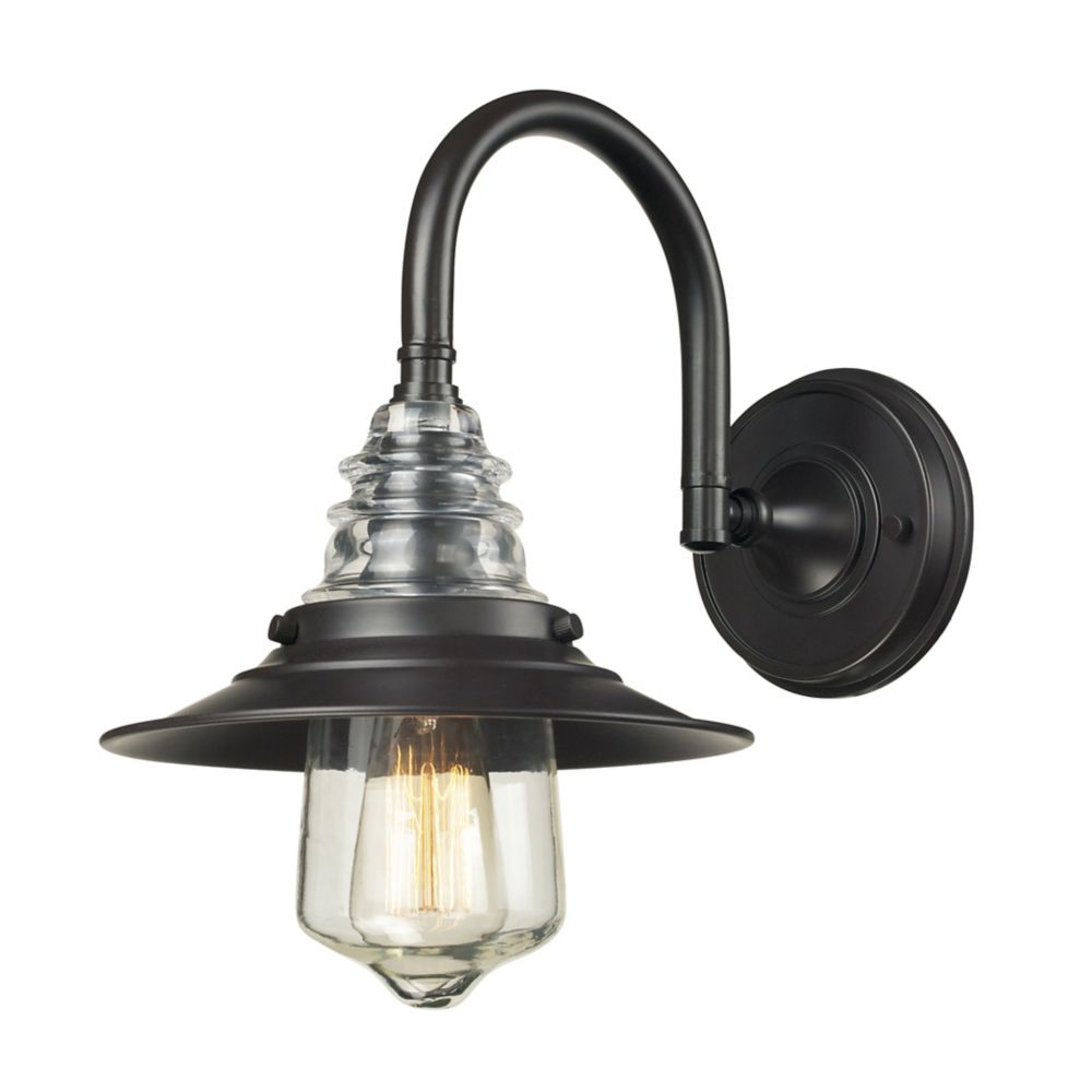 Insulator Glass  1 Light Sconce In Oiled Bronze