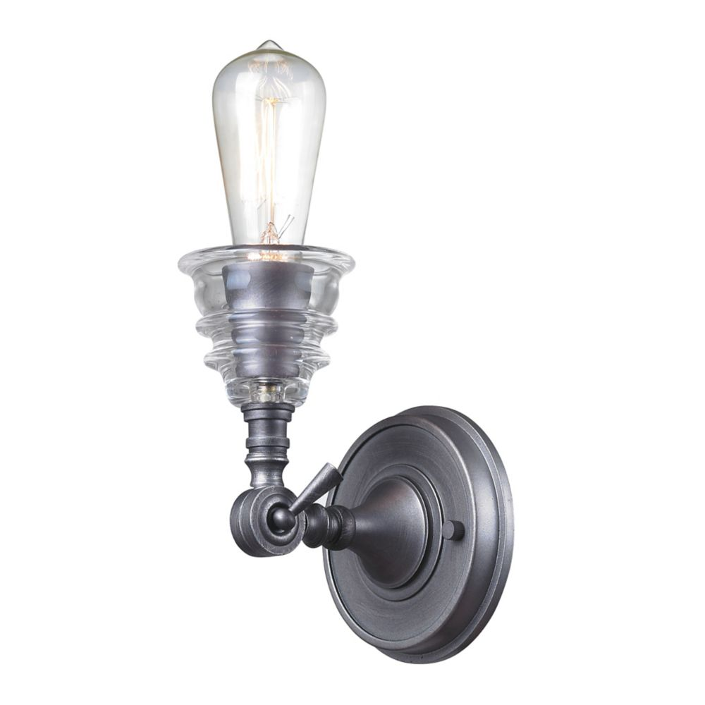 Insulator Glass  1 Light Sconce In Weathered Zinc
