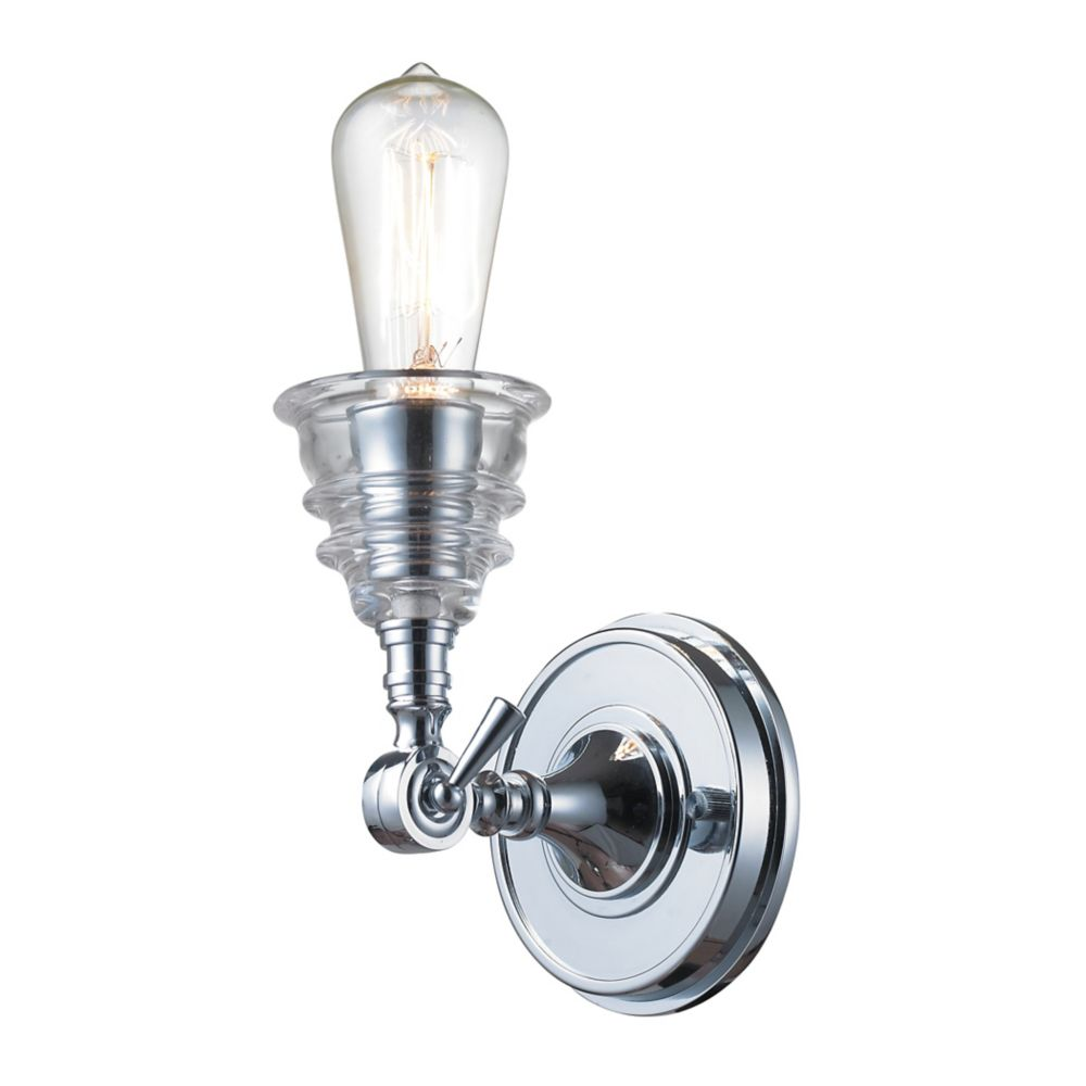 Insulator Glass  1 Light Sconce In Polished Chrome
