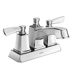 Robinet de salle de bains centré Conway, arc court, 2poignées à levier, 4po, chrome