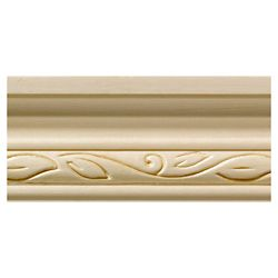 Ornamental Mouldings White Hardwood Clean Scroll Chair Rail Moulding - 1/2 x 1-3/4 x 48 Inches