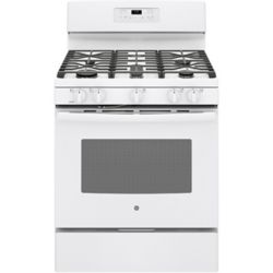 GE 30-inch 5.8 cu.ft. Single Oven Gas Range with Self Cleaning Oven in White