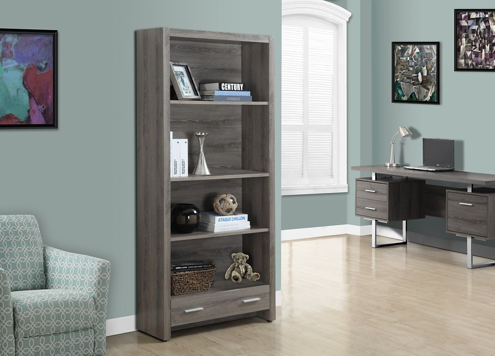Monarch Specialties 4-Shelf Manufactured Wood Bookcase in Beige