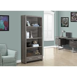 Monarch Specialties 4-Shelf Manufactured Wood Bookcase in Beige