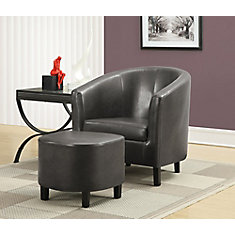 Contemporary Faux Leather Accent Chair in Grey with Solid Pattern