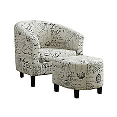 Contemporary Cotton Accent Chair in Beige