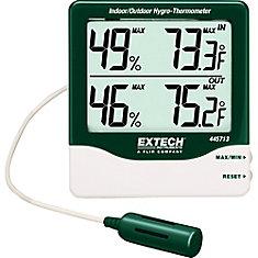 Hygro-thermomètre dintérieur/extérieur à gros chiffres