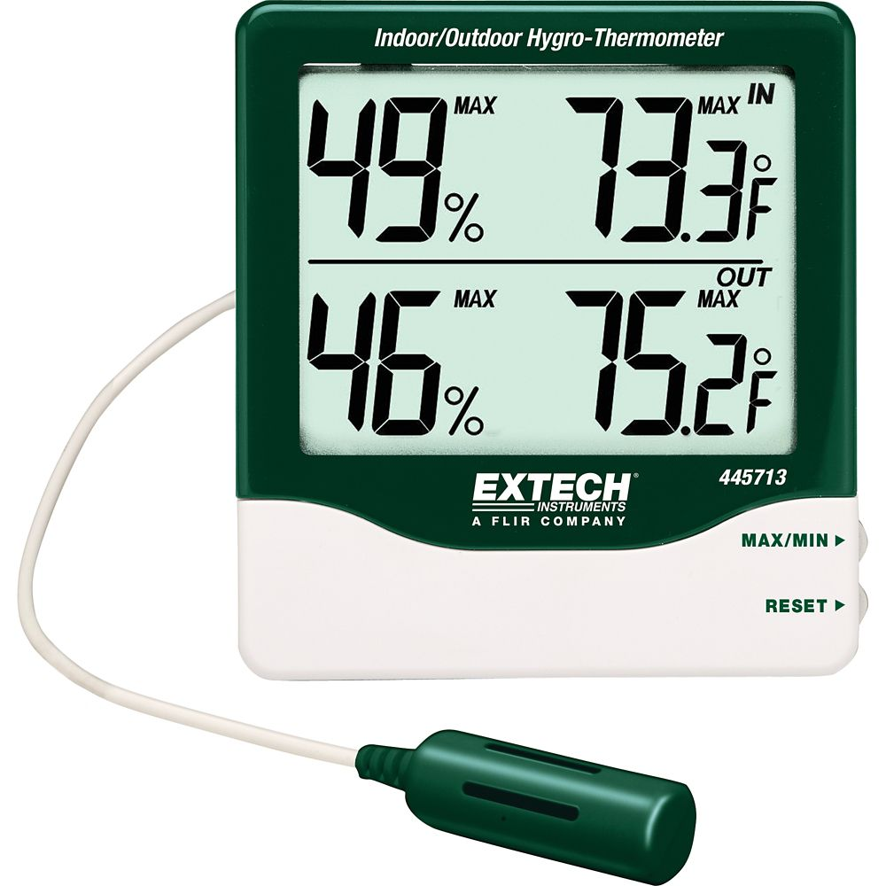 Extech Instruments Big Digit Indoor/Outdoor Hydro-Thermometer