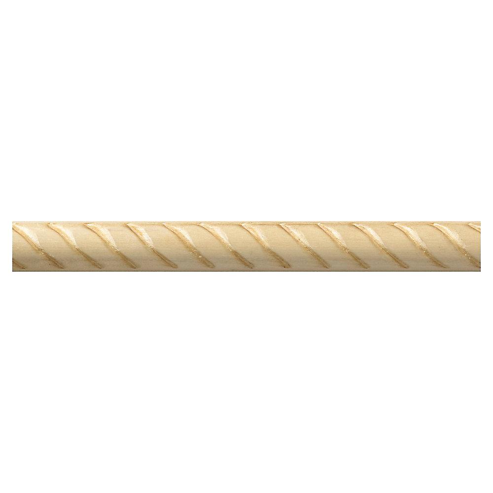 Cimaise à cordage tressé en bois dur blanc - 3/8 x 3/4 x 48 pouces