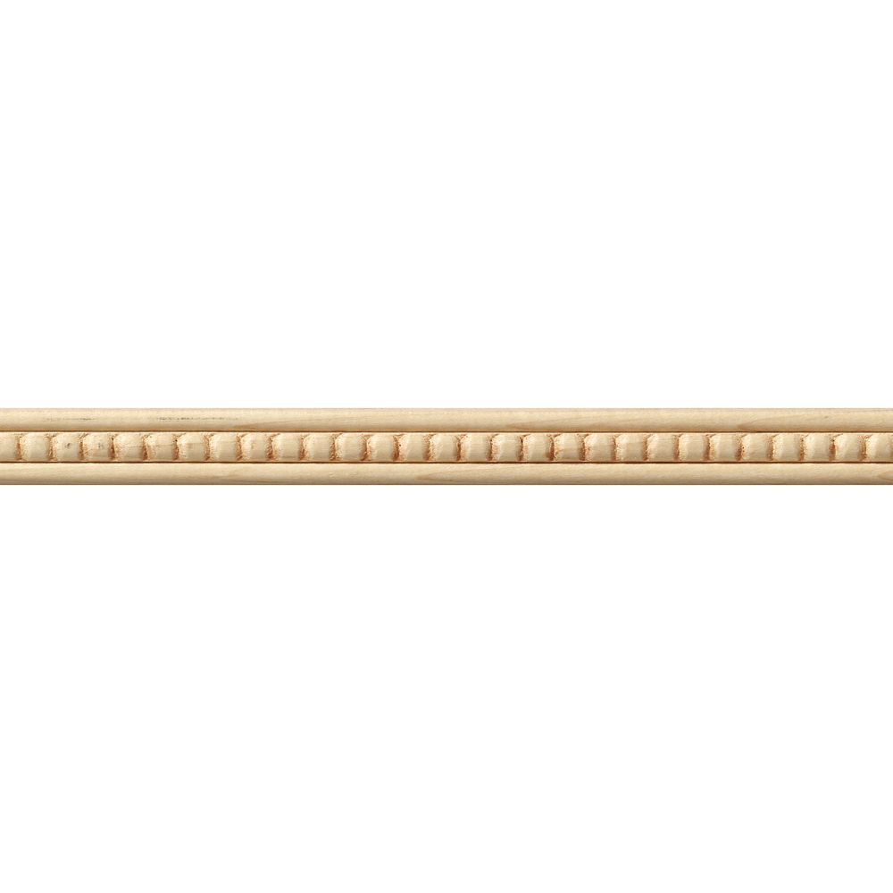 Maple Bead Trim Hobby Moulding 3/16  Inch x 3/4  Inch x 4  Feet
