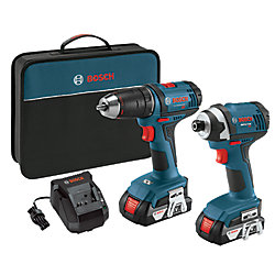 Bosch 18 V 2-Tool Combo Kit with 1/2 Inch Compact Drill/Driver and 1/4 Inch Hex Impact Driver