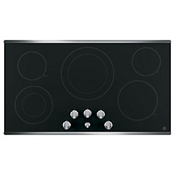 "36"" Smoothtop Electric Cooktop in Stainless Steel with 5 Elements Including 9""/12"" Power Boil Element"