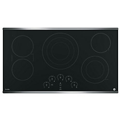 """GE 36"""" Smoothtop Electric Cooktop in Stainless Steel with 5 Elements Including 6""""/9""""/12"""" Tri-Ring Element"""