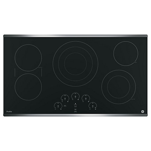 "36"" Smoothtop Electric Cooktop in Stainless Steel with 5 Elements Including 6""/9""/12"" Tri-Ring Element"