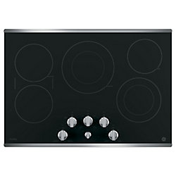 """GE 30"""" Smoothtop Electric Cooktop in Stainless Steel with 5 Elements including 6""""/9"""" Power Boil"""