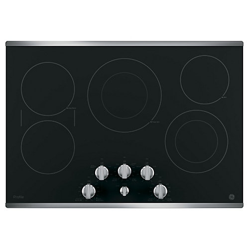 "30"" Smoothtop Electric Cooktop in Stainless Steel with 5 Elements including 6""/9"" Power Boil"