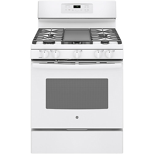 30-inch 5.0 cu. ft. Single Oven Gas Range with Self-Cleaning Convection Oven in White