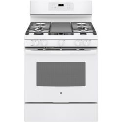 GE 30-inch 5.0 cu. ft. Single Oven Gas Range with Self-Cleaning Convection Oven in White