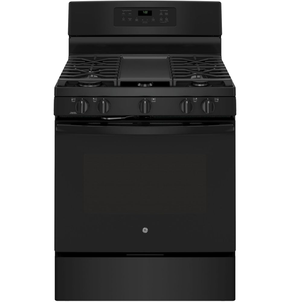 5.0 cu. ft. Free-Standing Convection Gas Range with Steam Clean in Black