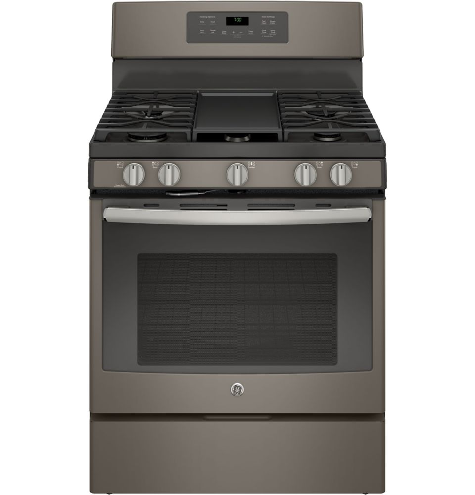 GE Slate 30 Inch Free Standing Steam Clean Convection Gas Range