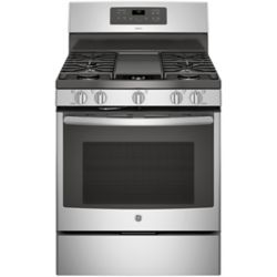 GE 30-inch 5.0 cu. ft. Single Oven Gas Range with Self-Cleaning Convection Oven in Stainless Steel